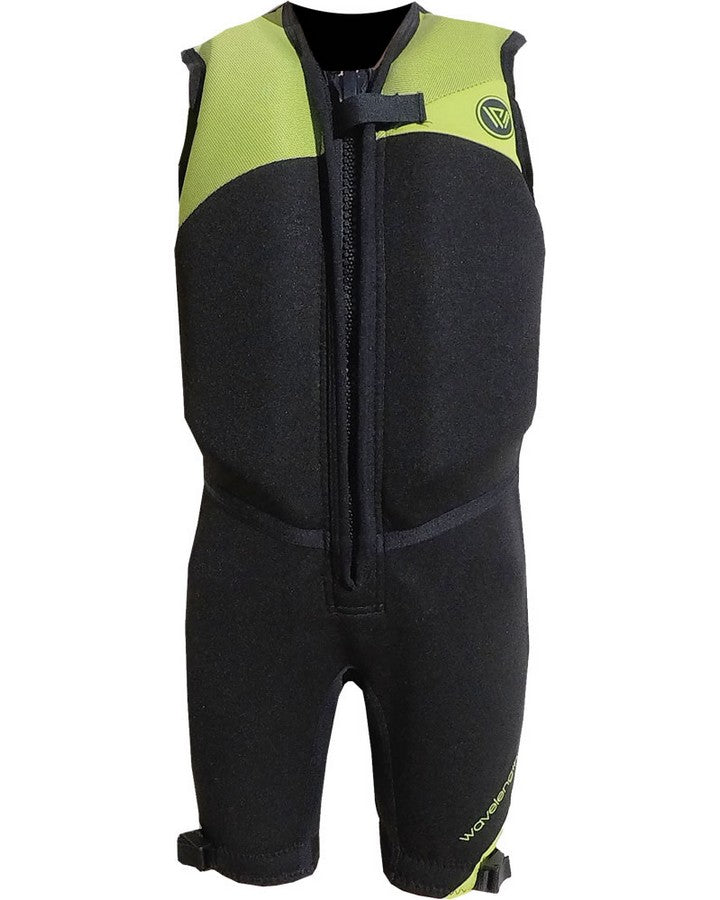 WAVELENGTH JUNIOR BUOYANCY SUIT - Black / Lime - 2020 Bouyancy Suits - Kids - Trojan Wake Ski Snow