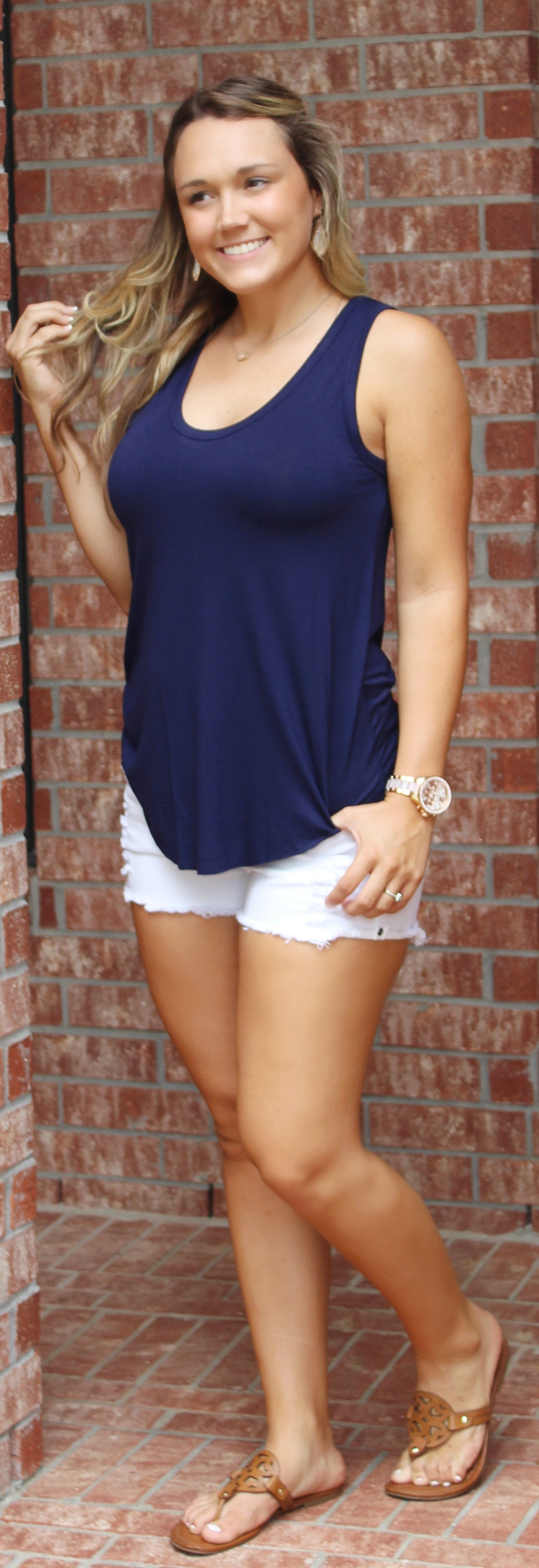 Around Town Top- Navy