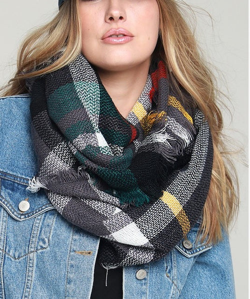 Everyday Plaid Infinity Scarf- Green