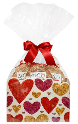 Floating Hearts Cookie Basket (Small - 6 Cookies)