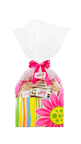 Pink Daisies Cookie Basket (Large - 12 Cookies)