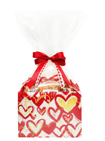 Scribble Hearts Cookie Basket (Small - 6 Cookies)