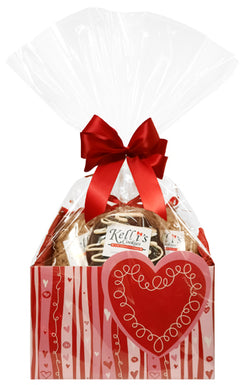 Valentine Heart Cookie Basket (Small - 6 Cookies)