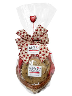 Wicker Heart Cookie Basket (Small - 6 Cookies)