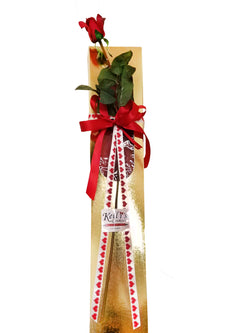 Gold Long Stem Rose Box (Large - 12 Cookies)