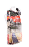 London Bus Print Cashmere Scarf