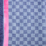 Double Colour Fine Check Wool Scarf