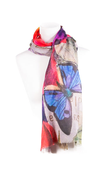 Butterfly Print Modal Cashmere Scarf