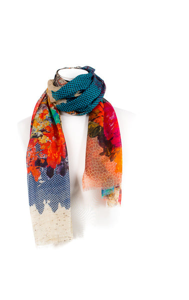 Colourful modal cashmere scarf