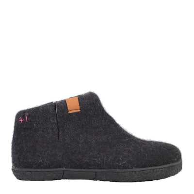 Womens Wool Felt Boot - Rubber Outsole - Black Grey