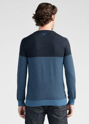 Mens Block Stripe Crew - Dark Navy