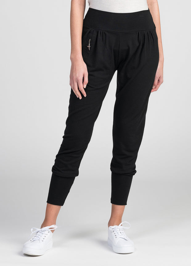 Womens Slouchy Zip Pants - Black