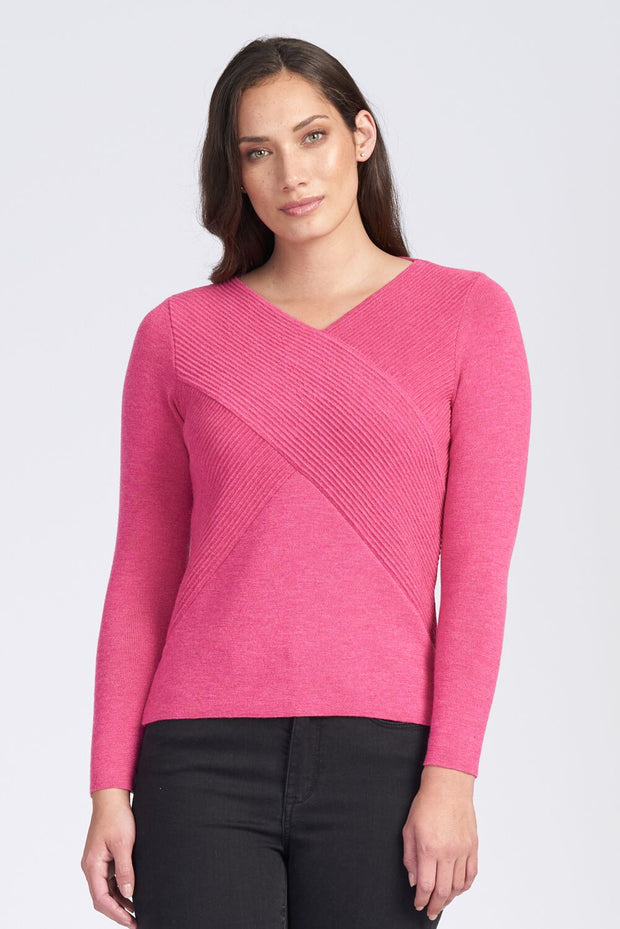 Womens LS V Rib Wrap Jumper - Light Fuschia