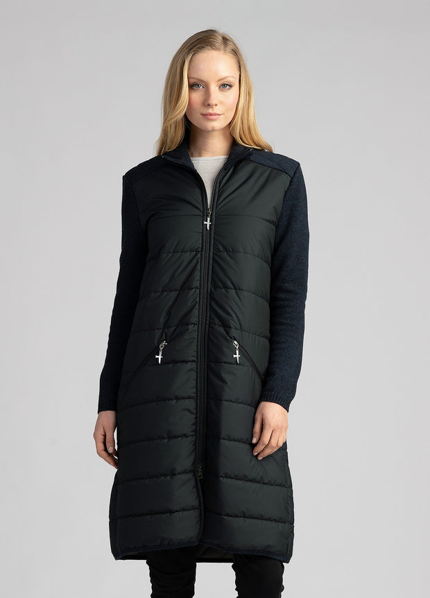 Womens Ecopuffer Coat - Black/Dark Navy