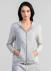 Womens Linen Knit Hoodie-Untouched World-Te Huia New Zealand