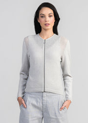Womens Linen Knit Zip Jacket-Untouched World-Te Huia New Zealand