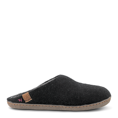 Womens Bhutan Wool Felt Slipper - Black Grey