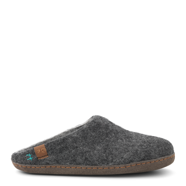 Womens Bhutan Wool Felt Slipper - Grey