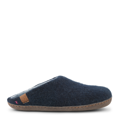 Womens Wool Felt Low Cut Slipper - Suede Outsole - Marine Blue