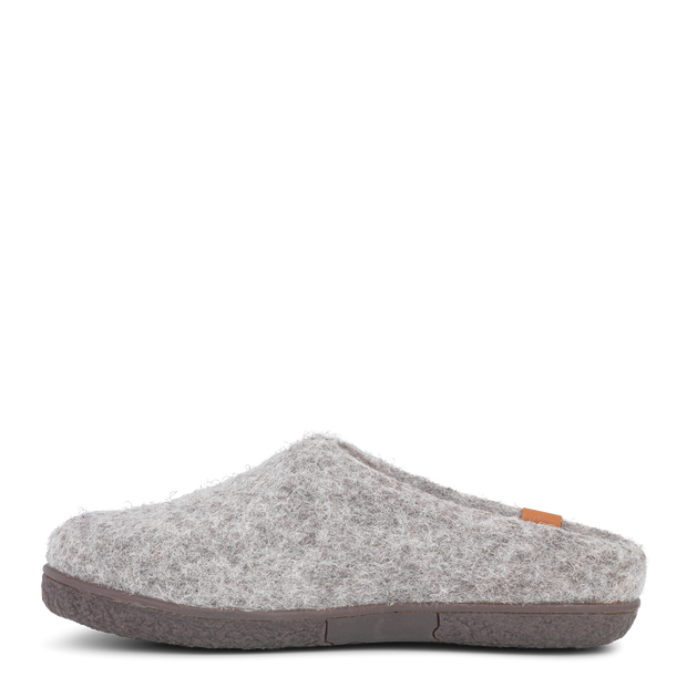 Womens Wool Felt Low Cut Slipper - Rubber Outsole - Light Grey