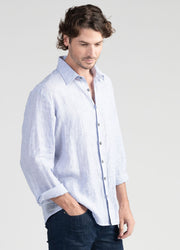Mens Relaxed Linen Shirt-Untouched World-Te Huia New Zealand