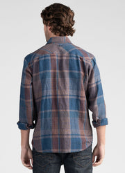 Mens Checked Linen Shirt-Untouched World-Te Huia New Zealand