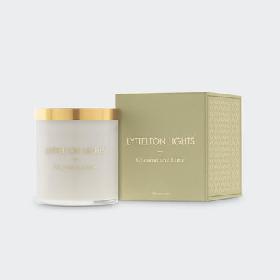 Coconut & Line Medium Candle | Lyttelton Lights | Te Huia New Zealand
