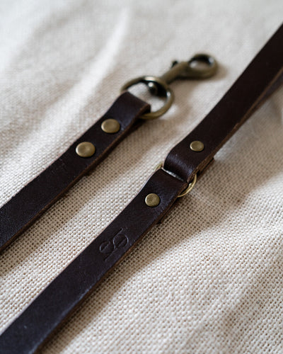 Leather Dog Lead - Chesnut