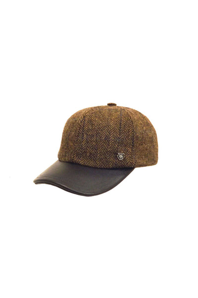English Wool Tweed Baseball Cap with Leather Peak - Brown-Hills Hats-Te Huia New Zealand