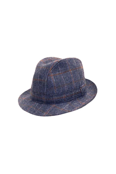 English Wool Tweed Trilby - Blue-Hills Hats-Te Huia New Zealand