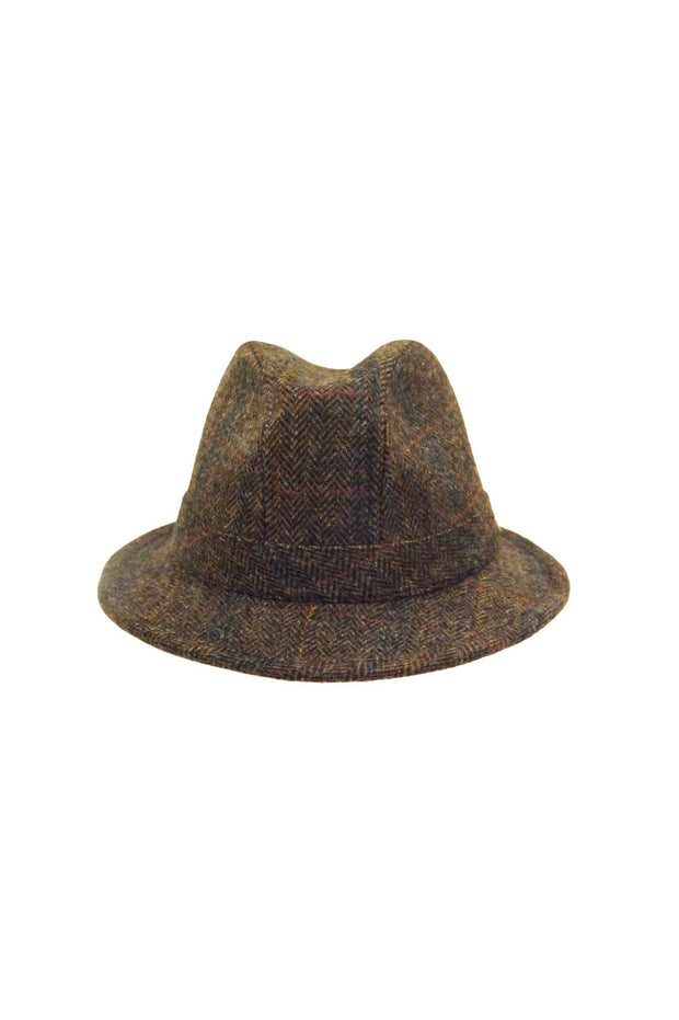 English Wool Tweed Trilby - Olive-Hills Hats-Te Huia New Zealand
