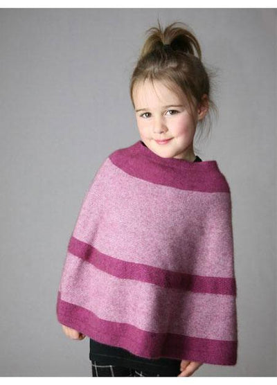 Kids Striped Poncho-Possumdown-Te Huia New Zealand