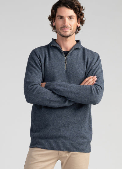 Mens Cassum Half Zip Sweater-Untouched World-Te Huia New Zealand