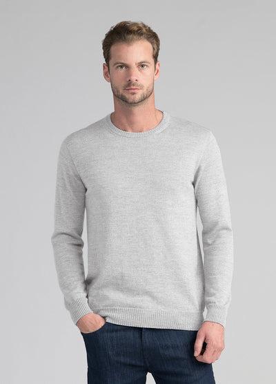 Mens Juicy Merino Crew - Light Silver-Untouched World-Te Huia New Zealand