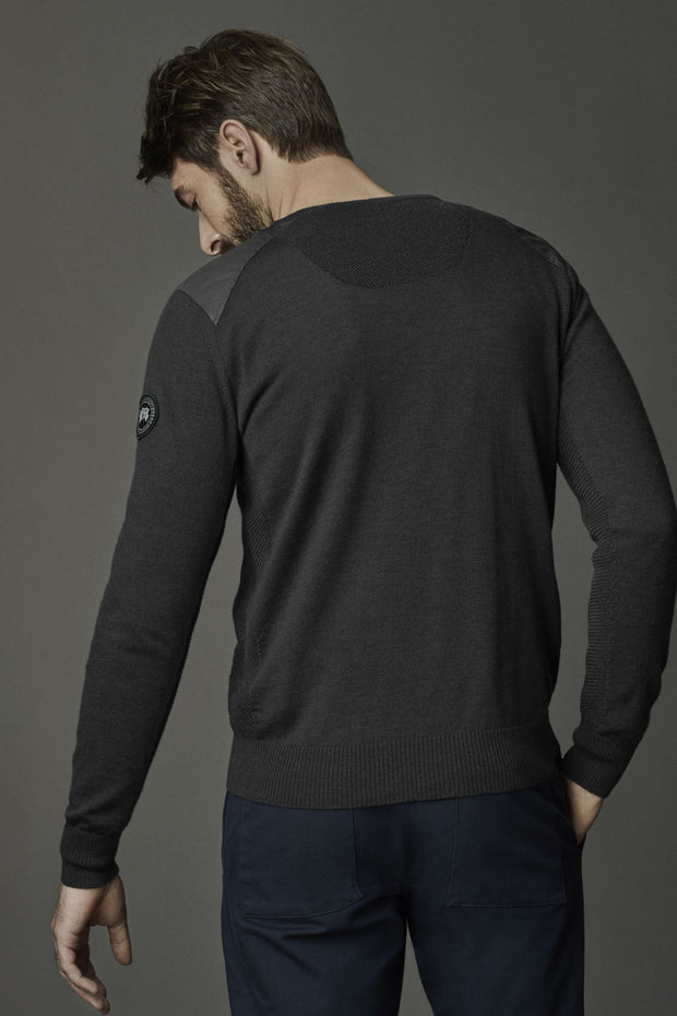 Mens McLeod V Neck Sweater Black Label-Canada Goose-Te Huia New Zealand