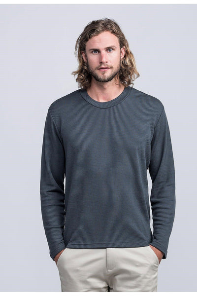 Mens Merino Waffle Crew - Lead-Untouched World-Te Huia New Zealand