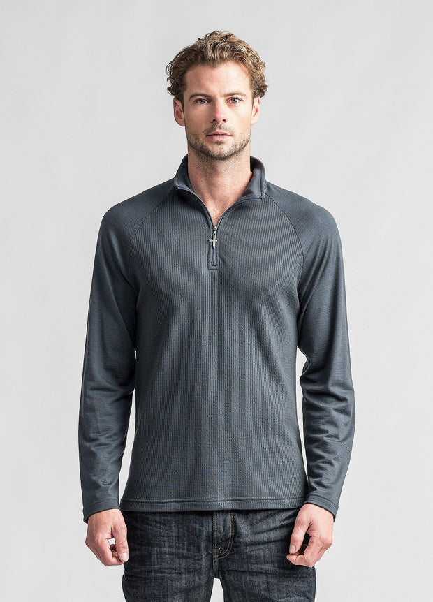 Mens Merino Waffle Half Zip - Lead-Untouched World-Te Huia New Zealand