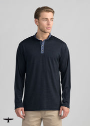 Mens Mountainsilk Contrast Placket Henley - Dark Navy-Untouched World-Te Huia New Zealand