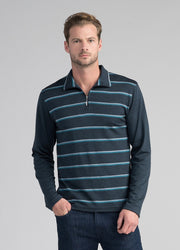 Mens Mountainsilk Pua Zip Stripe Shirt - Tasman Melange-Untouched World-Te Huia New Zealand