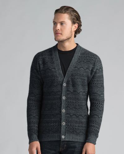 Mens Peak Button Cardi-Merinomink-Te Huia New Zealand