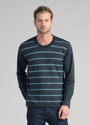 Mens Stripe Merino Crew - Tasman Melange Stripe-Untouched World-Te Huia New Zealand