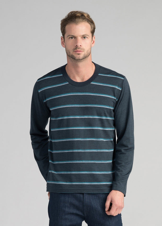 Untouched World-Mens Stripe Merino Crew - Tasman Melange Stripe - buy online with www.tehuianz.com