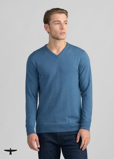 Mens Simple Merino Vee - Denim