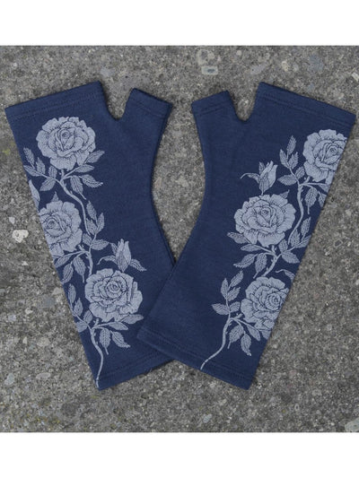 Merino Fingerless Gloves - Standard Length Ink Rose Print-Kate Watts-Te Huia New Zealand