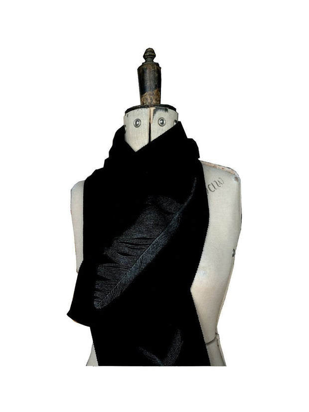 Merino Scarf - Feather Print-Kate Watts-Te Huia New Zealand