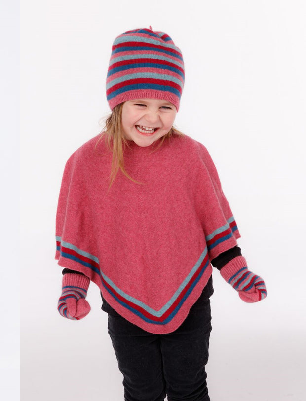 Kids Striped Poncho-Native World-Te Huia New Zealand