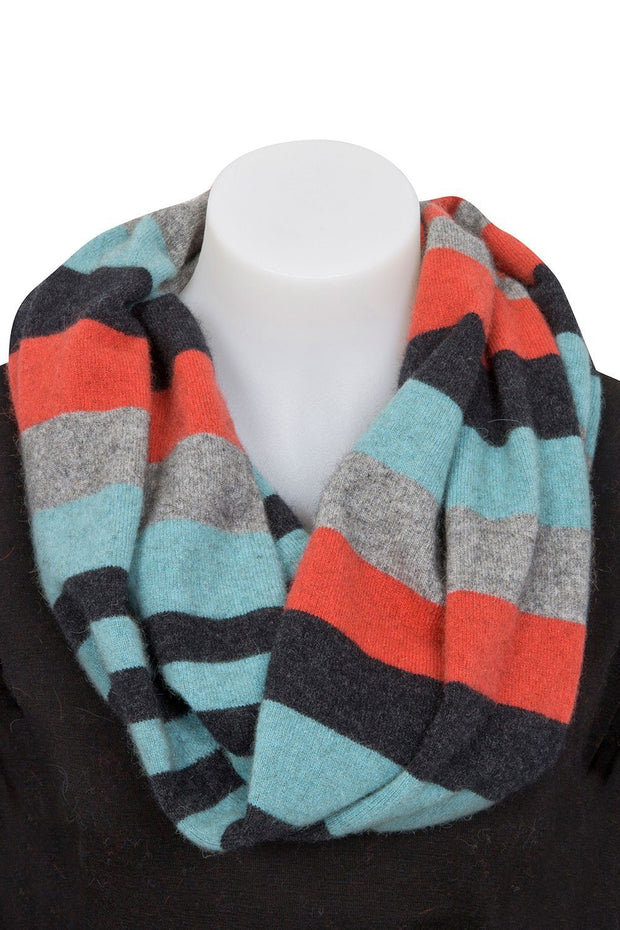 4-Tone Block Colour Loop Scarf-Native World-Te Huia New Zealand