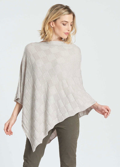Womens Checkerboard Poncho-Royal Merino-Te Huia New Zealand