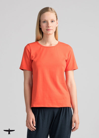 Womens Essential Organic Cotton Tee - Tangerine-Untouched World-Te Huia New Zealand