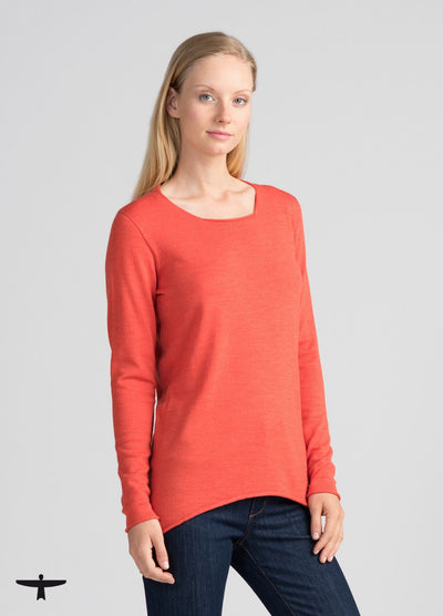 Womens Everyday Merino Crew - Tangerine-Untouched World-Te Huia New Zealand